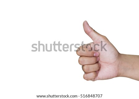 Hand with one thumb up mean superb isolated on white background.