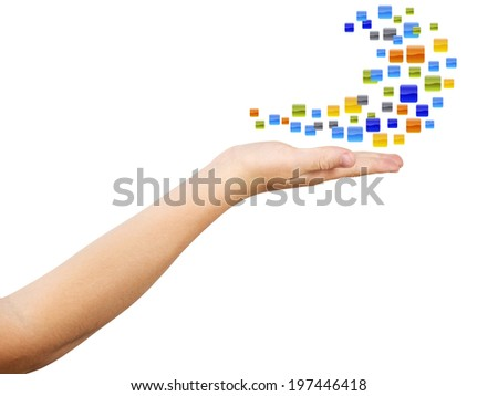 Hand with open palm and plenty empty icons as wave, isolated, clipping path - stock photo
