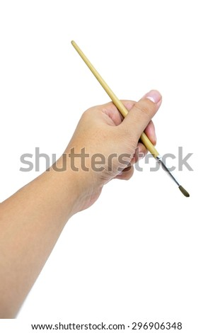 Hand with paintbrush isolated on white background