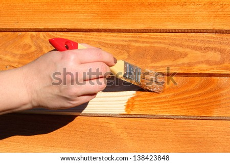 hand with paintbrush on wood - stock photo