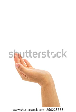 Hand with palm up with empty space for adding text above  - stock photo