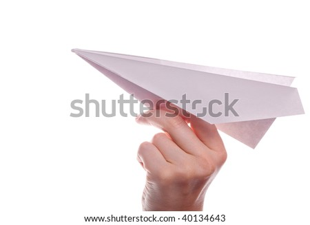 hand with paper airplane isolated on white background