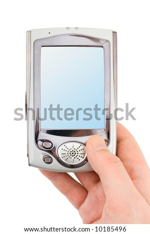 Hand with PDA, isolated on white background - stock photo