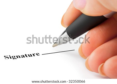 Hand with pen and contract isolated on white background