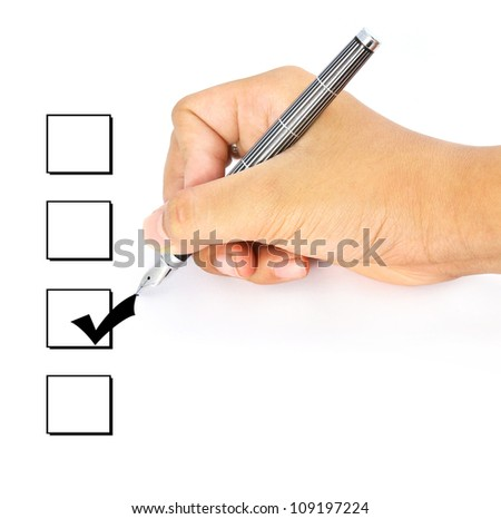 Hand with pen : check boxes isolated on white