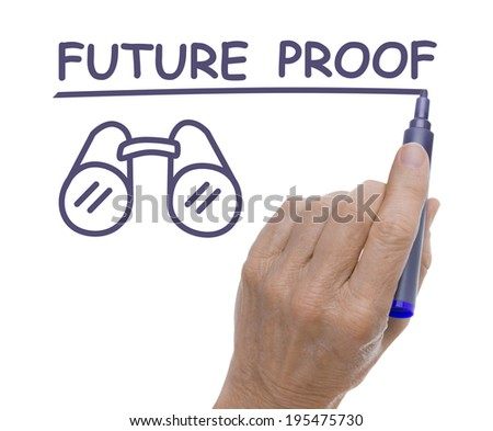 Hand with Pen Drawing Future Proof and Binoculars  - stock photo