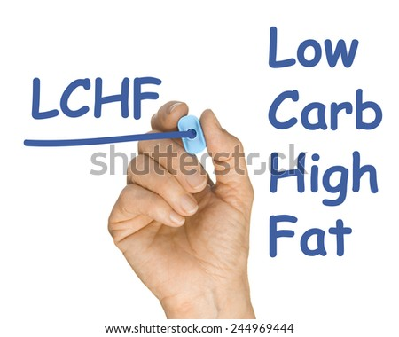 Hand with Pen Drawing LFHC Low Fat High Carb in accordance with low sugar weightloss lifestyle - stock photo