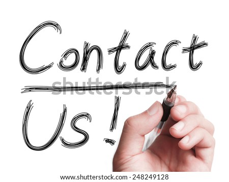 Hand with pen is writing Contact Us on transparent white board. - stock photo