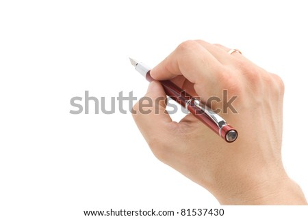 hand with pen isolated on white background - stock photo