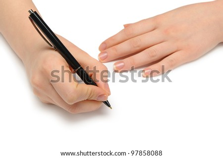 Hand with pen. Over grey empty a paper. Imitation to write - stock photo
