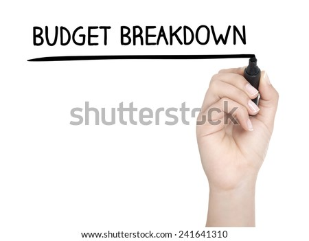Hand with pen writing BUDGET BREAKDOWN on whiteboard - stock photo
