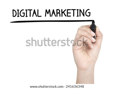 Hand with pen writing DIGITAL MARKETING on whiteboard - stock photo