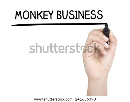 Hand with pen writing MONKEY BUSINESS on whiteboard - stock photo