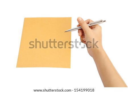 hand with pen writing on the envelope on white background (with clipping path)