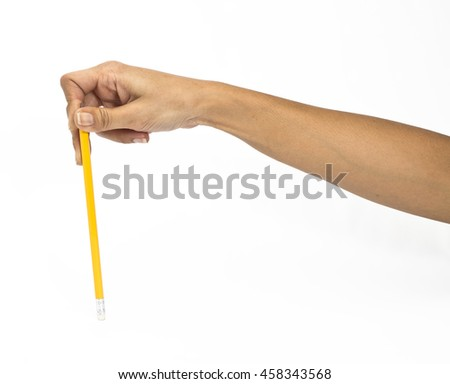 Hand with pencil isolated on white background