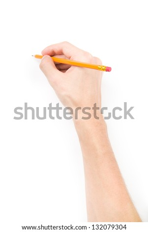 Hand with pencil writing something isolated on white background with shadows