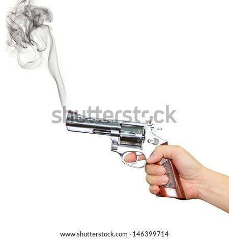 Hand with pistol - stock photo