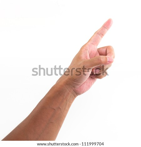 Hand with point finger, isolated on a white background - stock photo