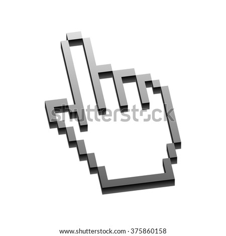 Hand with pointing finger isolated on white background.