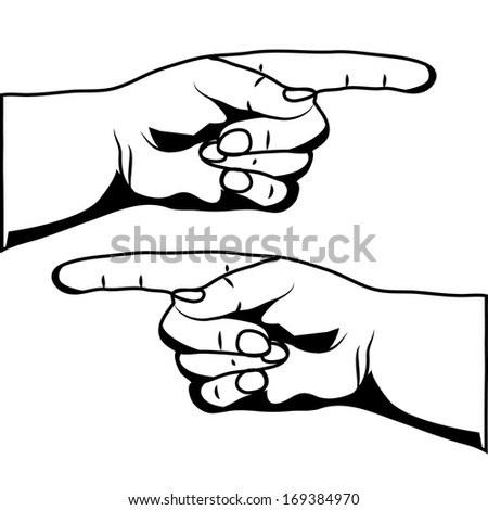 Hand with pointing finger isolated on white background raster