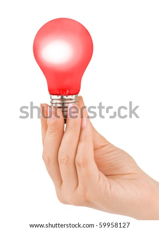 Hand with red lamp isolated on white background
