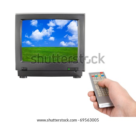 Hand with remote control and tv (my photo) isolated on white background - stock photo