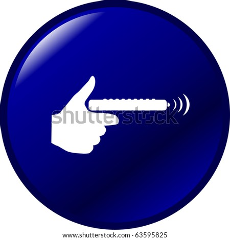 hand with remote control button - stock photo