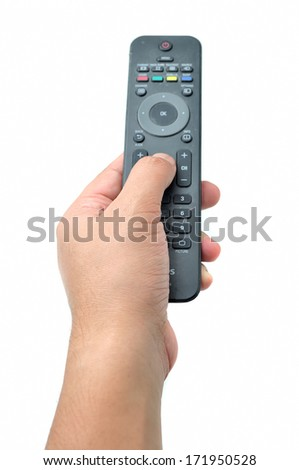 Hand with remote control on white - stock photo