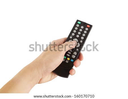 hand with remote control on white background (with clipping path) - stock photo