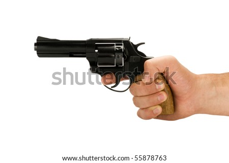 hand with revolver gun isolated on white background - stock photo