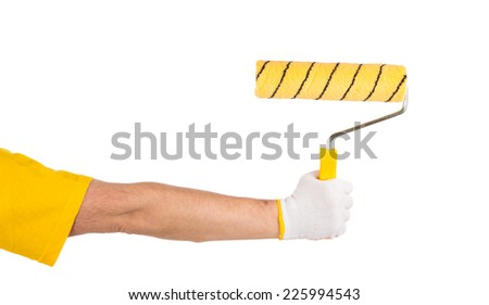 Hand with roll. Isolated on a white background.
