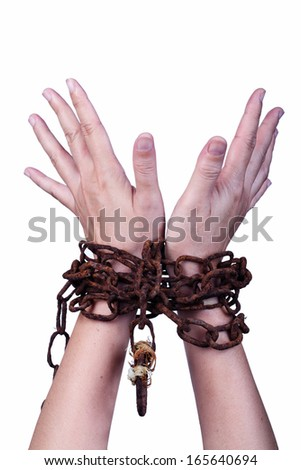 hand with rusty chain isolated on white background. - stock photo