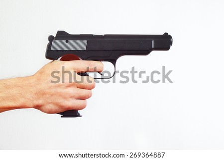 Hand with semi-automatic gun on a white background
