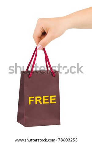 Hand with shopping bag isolated on white background - stock photo