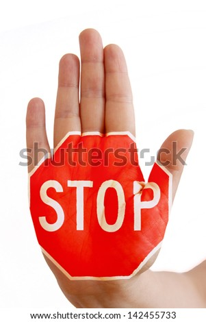 hand with sign stop, concept stop violence/ abuse