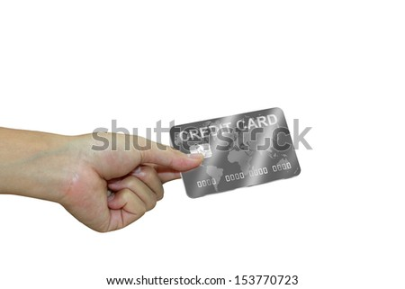 Hand with silver credit card. Business concept.