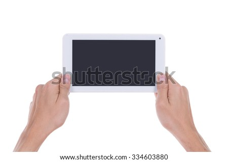 hand with small tablet computer blank screen isolated on white background - stock photo