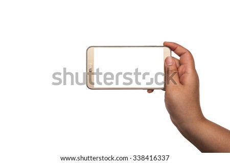 Hand with smart phone isolated on white background,  All shape hand and phone, Smart phone white screen collection, Hand holding smart phone mobile isolate, Smart phone mobile with hand on white