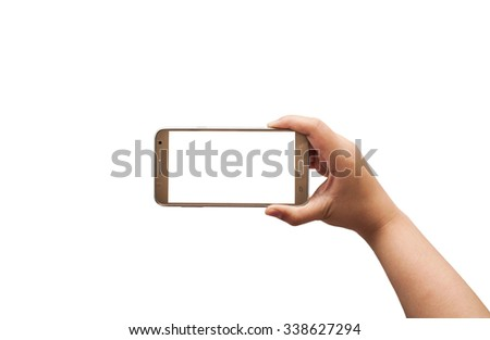 Hand with smartphone isolated on white background, Clipping path