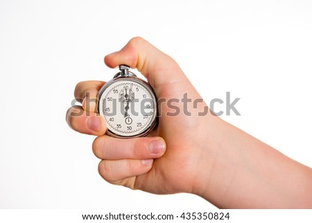hand with stop watch in front of white background - stock photo