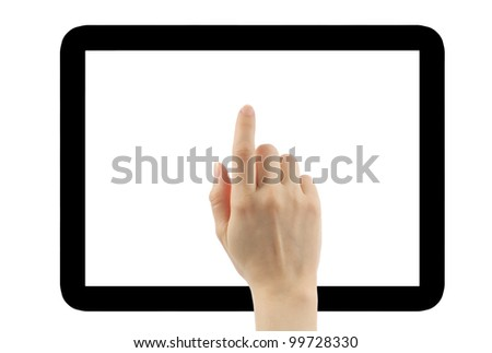 Hand with tablet pc frame isolated on white - stock photo