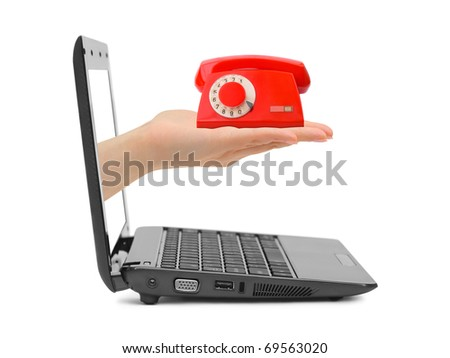 Hand with telephone and notebook isolated on white background - stock photo