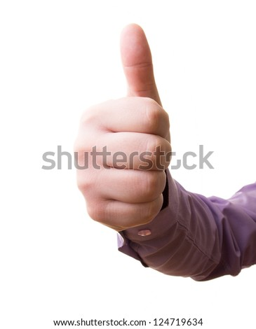 Hand, with the thumb up - stock photo
