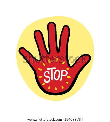 Hand with the word Stop Illustration ; Hand Stop Sign on Yellow Background - stock photo
