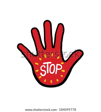 Hand with the word stop illustration; Isolated stop hand