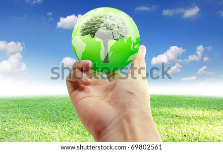 Hand with the world
