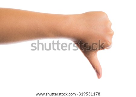 hand with thumb down isolated on white background