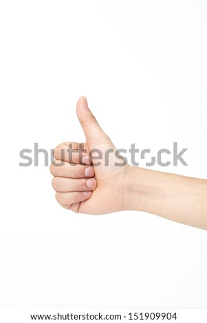 Hand with thumb up isolated on white background.