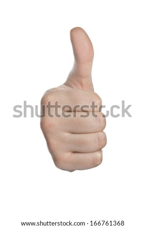 hand with thumb up isolated with white background - stock photo
