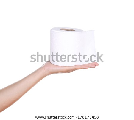 hand with toilet paper roll isola - stock photo